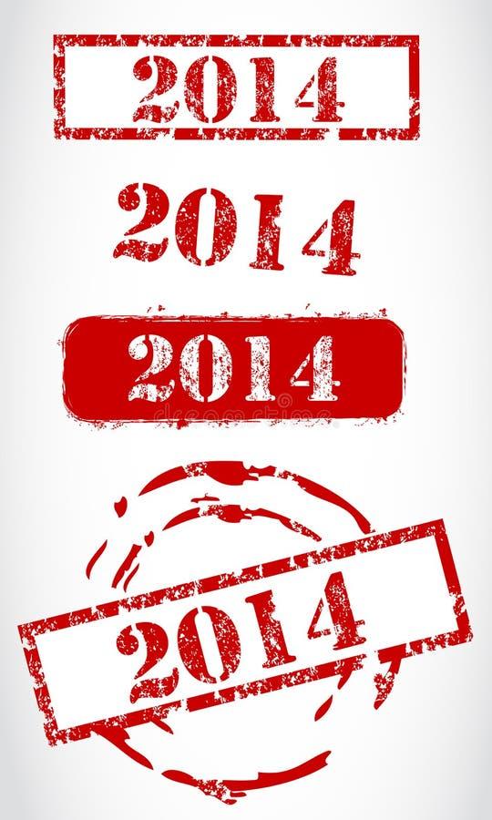 Stempelsatz des neuen Jahres 2014 lizenzfreie abbildung