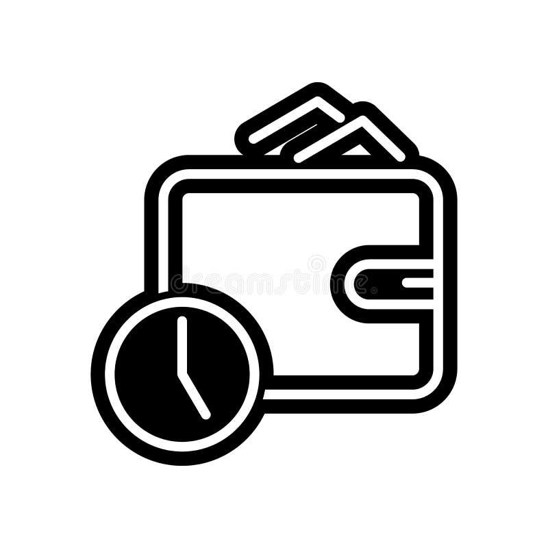 Stempeluhr mit Geldb?rsenikone Element der Finanzierung f?r bewegliches Konzept und Netz Appsikone Glyph, flache Ikone f?r Websit vektor abbildung