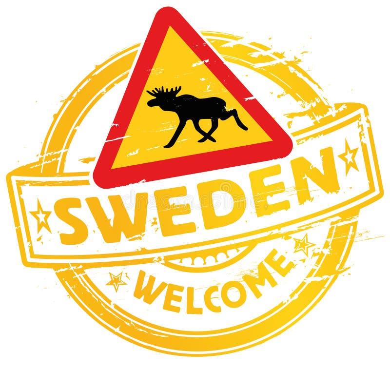 Stempelwillkommen nach Schweden lizenzfreie abbildung