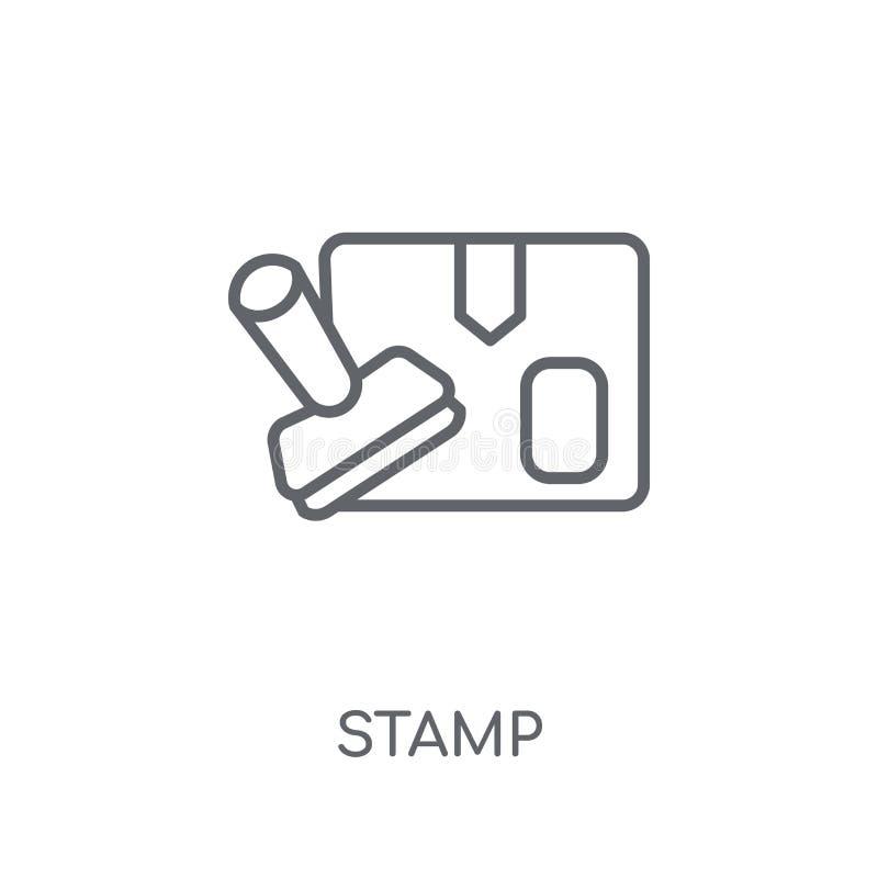Stemplowa liniowa ikona Nowożytny konturu znaczka logo pojęcie na białych półdupkach ilustracja wektor