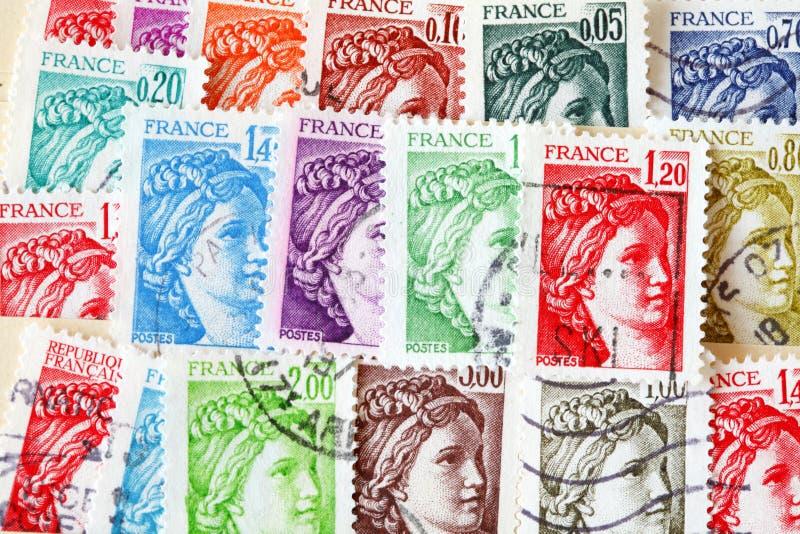 Stemplujący starzy francuzów znaczki fotografia stock
