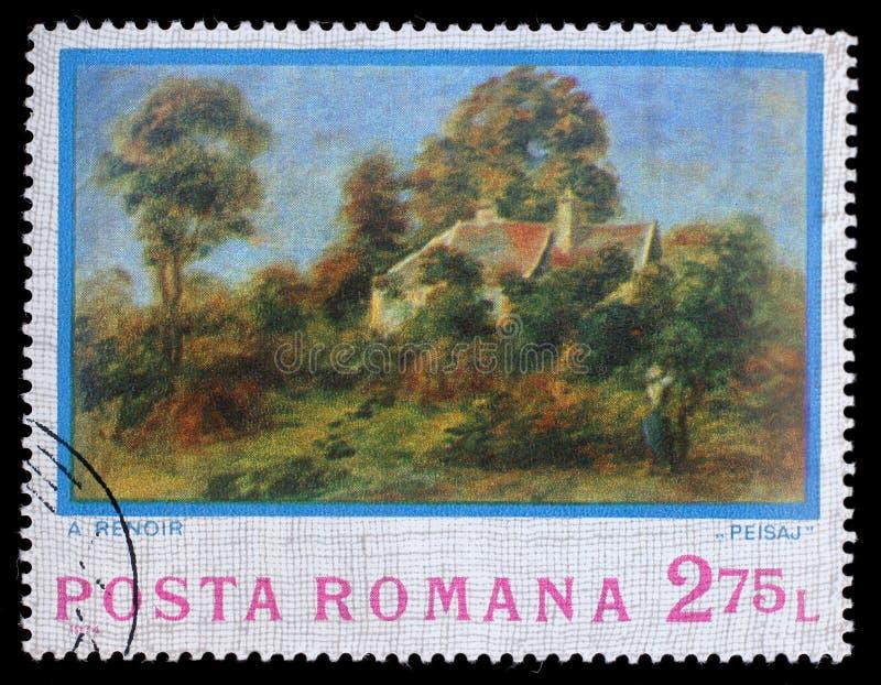 Stempluje drukowanego Rumunia, przedstawienie obrazka krajobraz Auguste Renoir obrazy stock