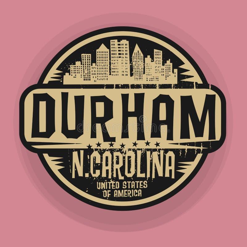 Stempluje lub etykietka z imieniem Durham, Pólnocna Karolina royalty ilustracja