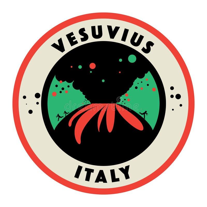 Stempluje lub etykietka z słowami Vesuvius, Włochy royalty ilustracja
