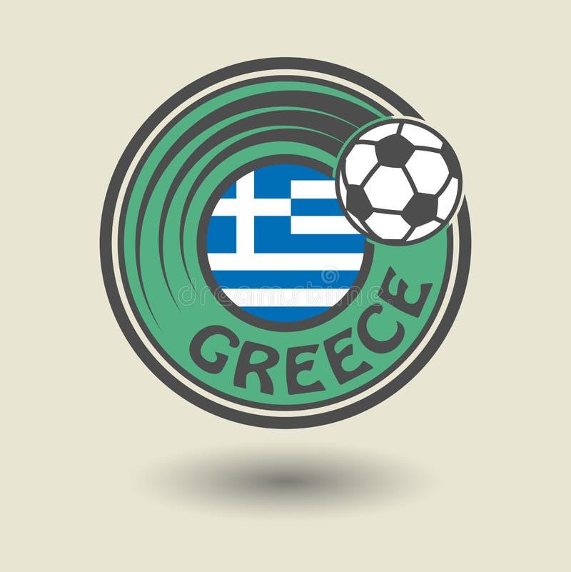 Stempluje lub etykietka z słowem Grecja, futbolowy temat royalty ilustracja
