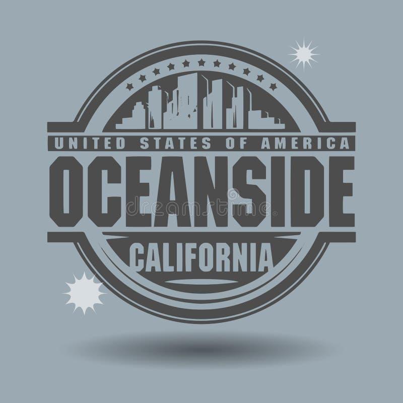 Stempluje lub etykietka z teksta oceanside, Kalifornia inside royalty ilustracja