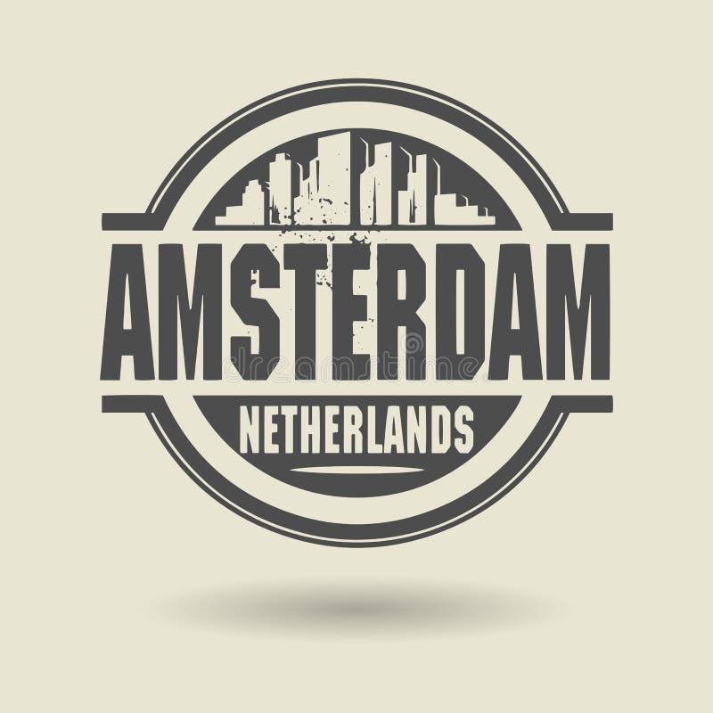 Stempluje lub etykietka z tekstem Amsterdam, holandie inside ilustracja wektor
