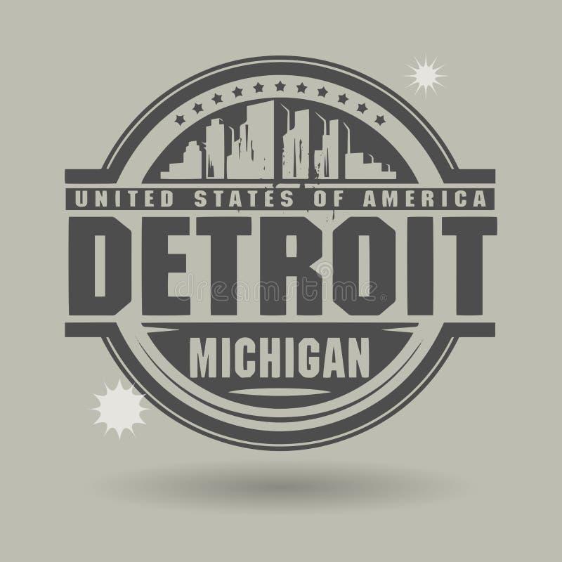 Stempluje lub etykietka z tekstem Detroit, Michigan inside ilustracja wektor