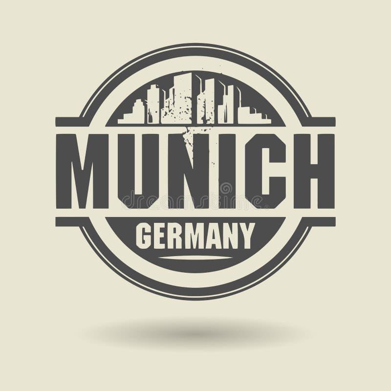 Stempluje lub etykietka z tekstem Monachium, Niemcy inside ilustracji