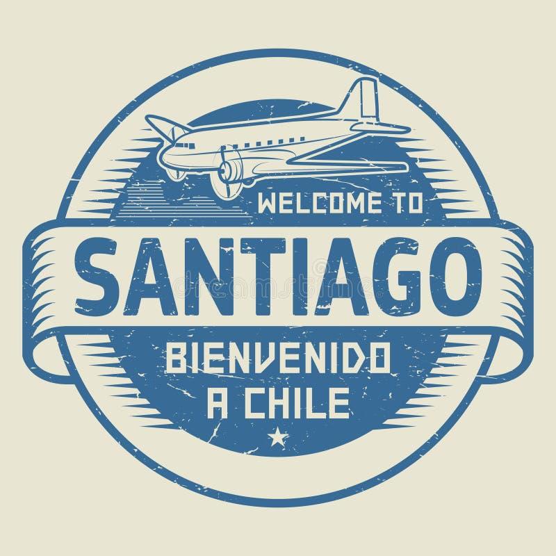 Stempluje Santiago lub etykietka z samolotowym teksta powitaniem, Chile ilustracja wektor