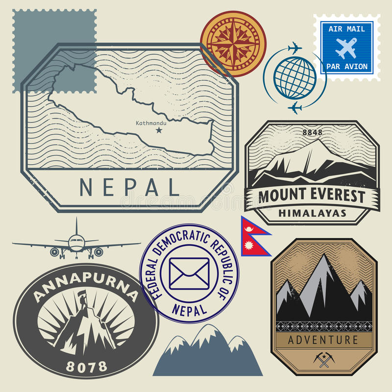 Stempluje set z mapą Nepal i imieniem ilustracja wektor