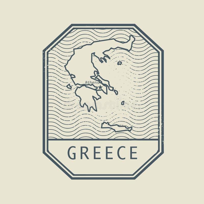 Stempluje z mapą Grecja i imieniem, wektor royalty ilustracja