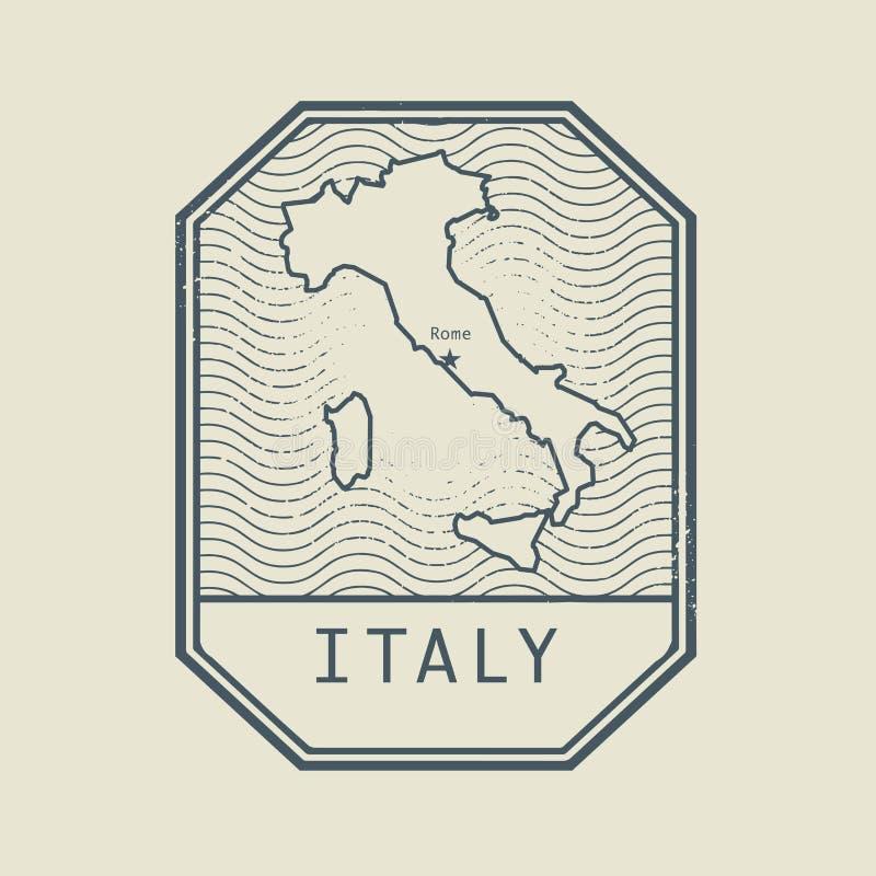 Stempluje z mapą Włochy i imieniem ilustracja wektor