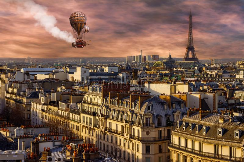 Stempunk surreal Paris, balão de ar quente foto de stock