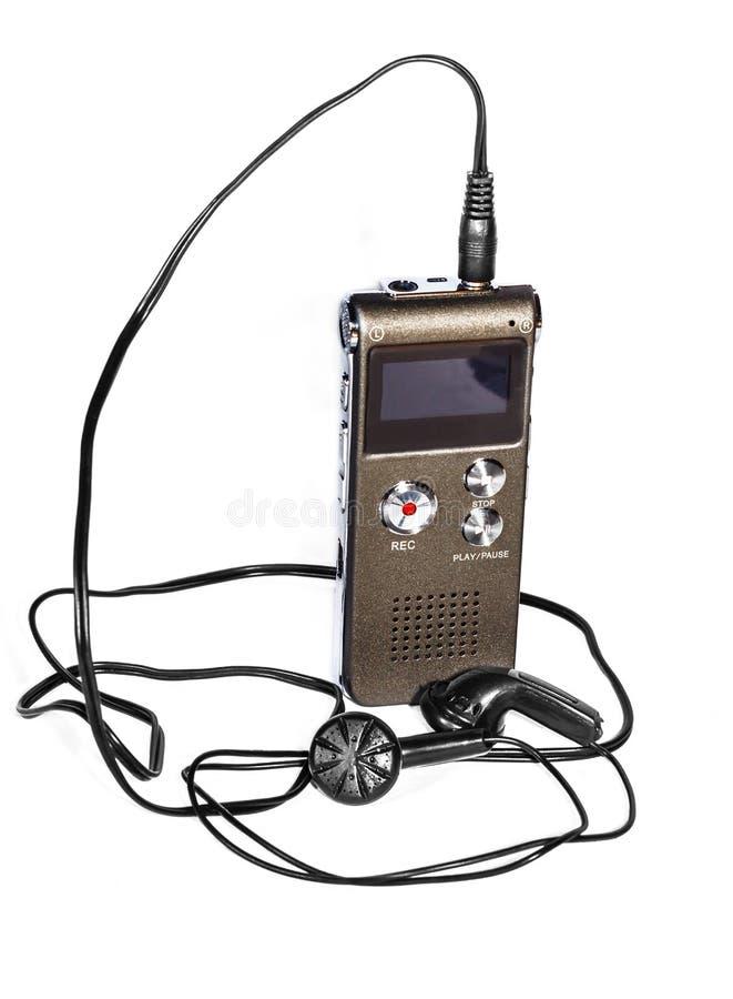 Stemregistreertoestel met hoofdtelefoons stock foto's