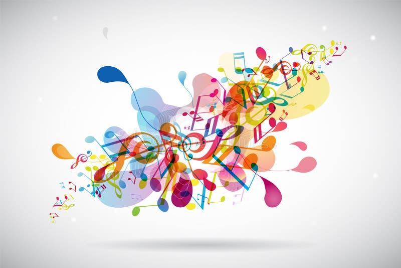 Stemt de samenvatting gekleurde bloemachtergrond met muziek stock illustratie