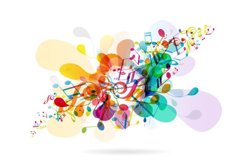 Stemt de samenvatting gekleurde bloemachtergrond met muziek royalty-vrije illustratie