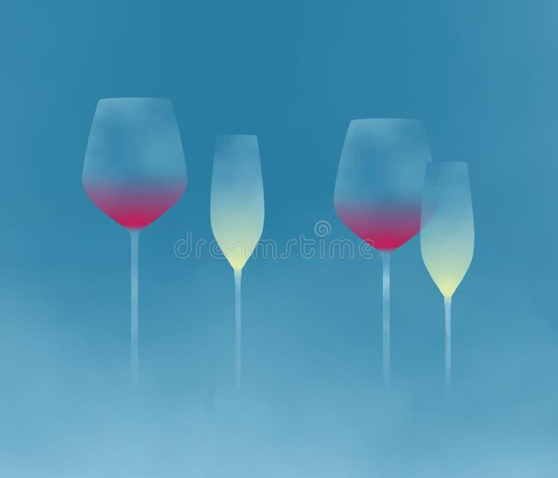 Stemware, glassware z długimi trzonami jest tematem ten abstrakcjonistyczny tło wizerunek obrazy stock