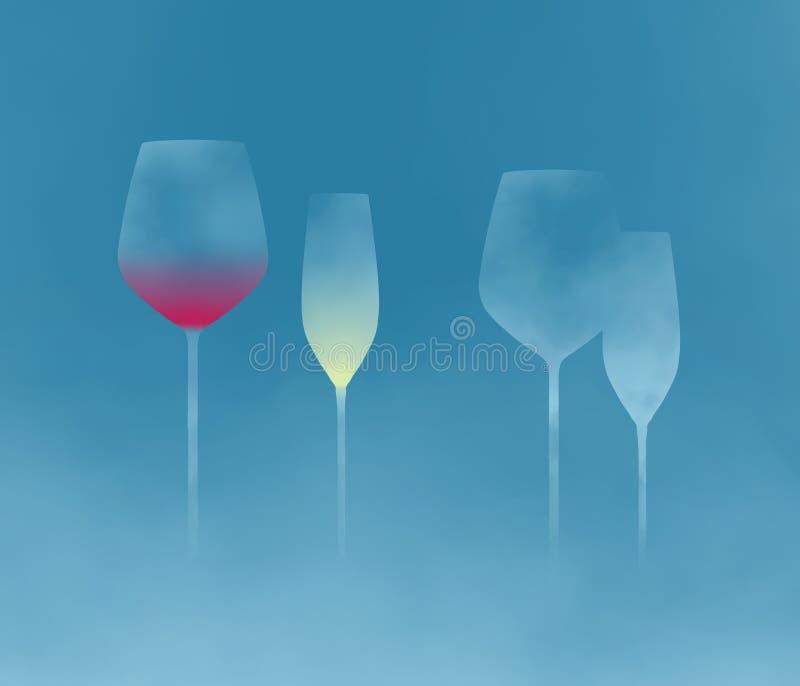 Stemware, Glaswaren mit langen Stämmen ist das Thema dieses abstrakten Hintergrunds stockfoto