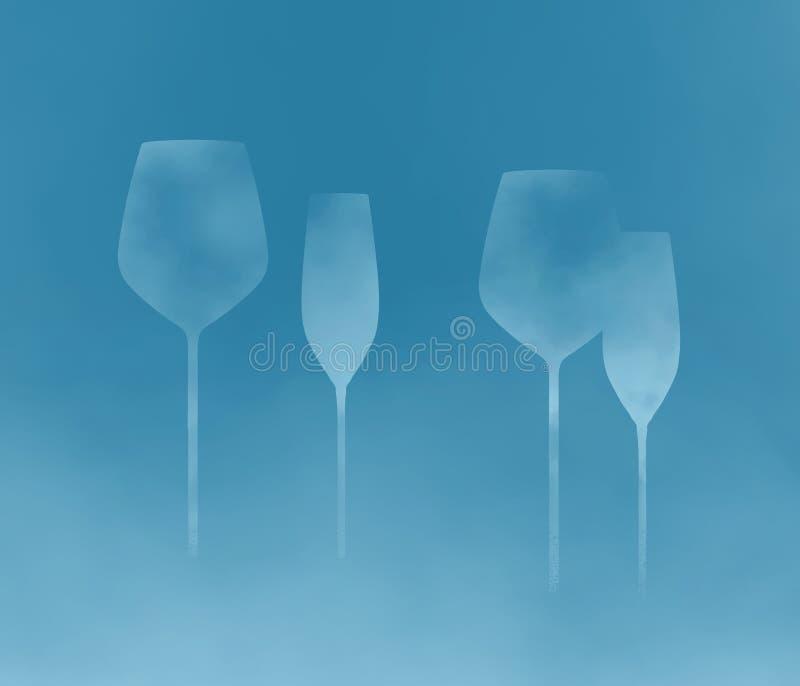 Stemware, Glaswaren mit langen Stämmen ist das Thema dieses abstrakten Hintergrunds stockfotos
