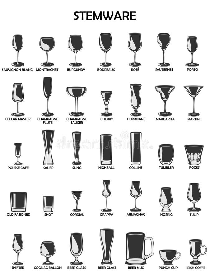 Free Stemware Set, Illustration On A White Background.A Collect Stock Image - 57196751