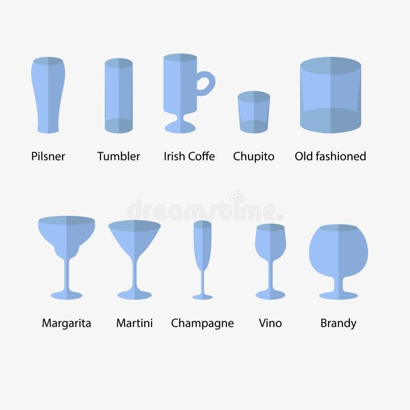 Stemware, sistema de tipos de los vidrios libre illustration