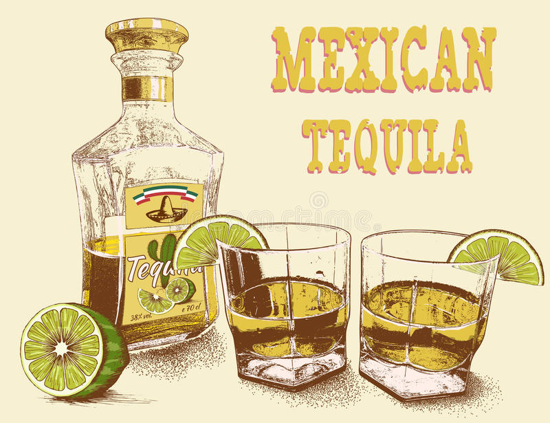 Stemware två av tequilaen med flaskan royaltyfri illustrationer