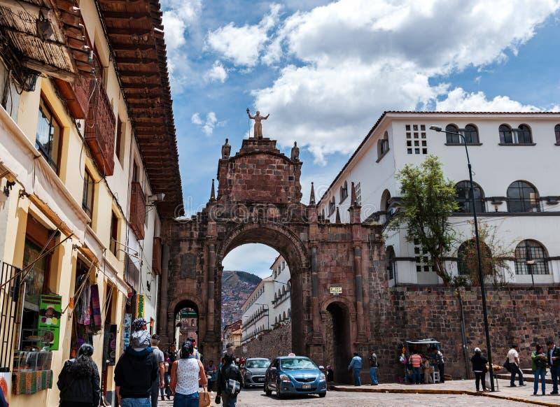 Sten ärke- Santa Clara på den Cuzco staden Peru Arco de Santa Clara arkivbild