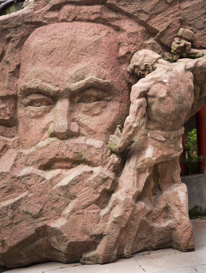 sten för porslinchongqing Karl Marx sichuan staty arkivbilder