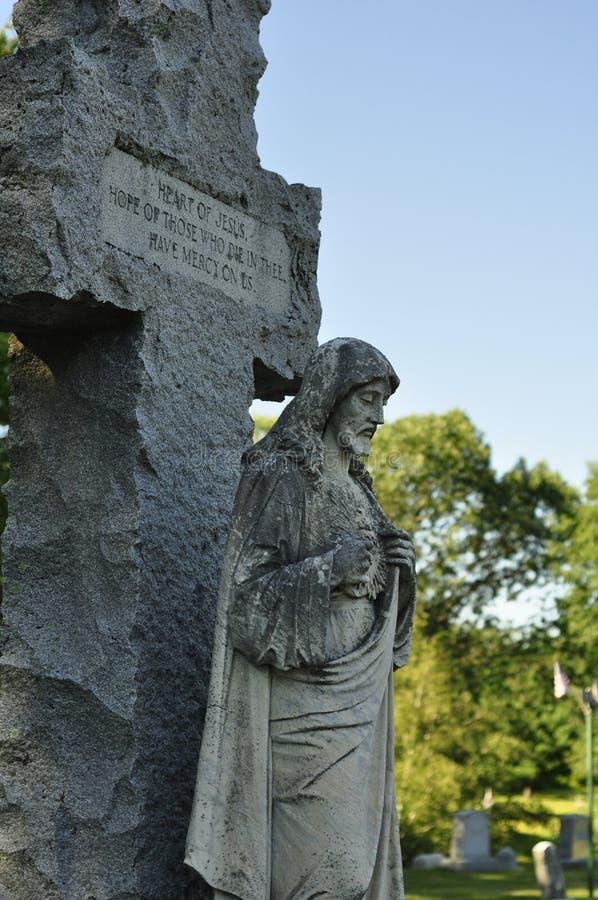 Sten Jesus Christ Statue med citationstecken arkivbilder