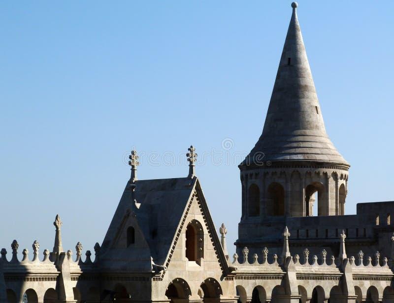 Stena detaljen av bastionen för fiskare` s i Budapest royaltyfria foton