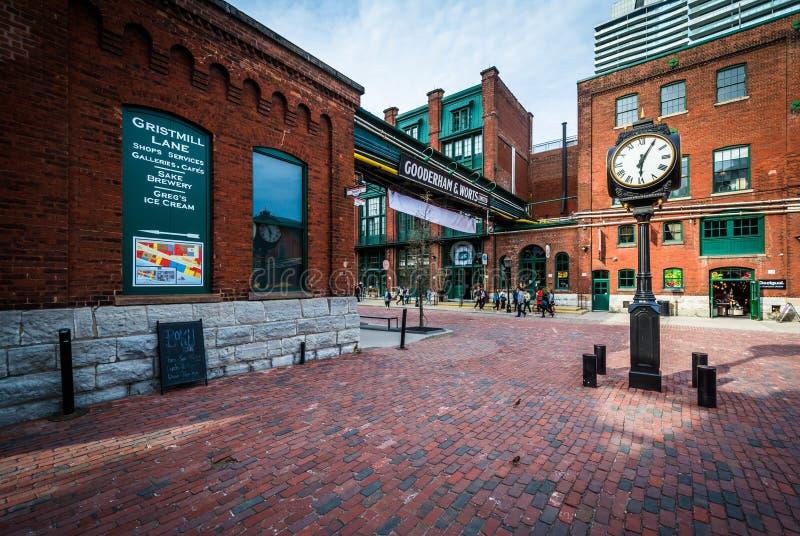 Stena gator och byggnader i det historiska området för spritfabriken, arkivfoto