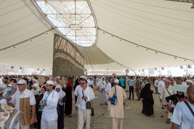 Stena jäkeln i Jamarat under Hajjledaren royaltyfria foton