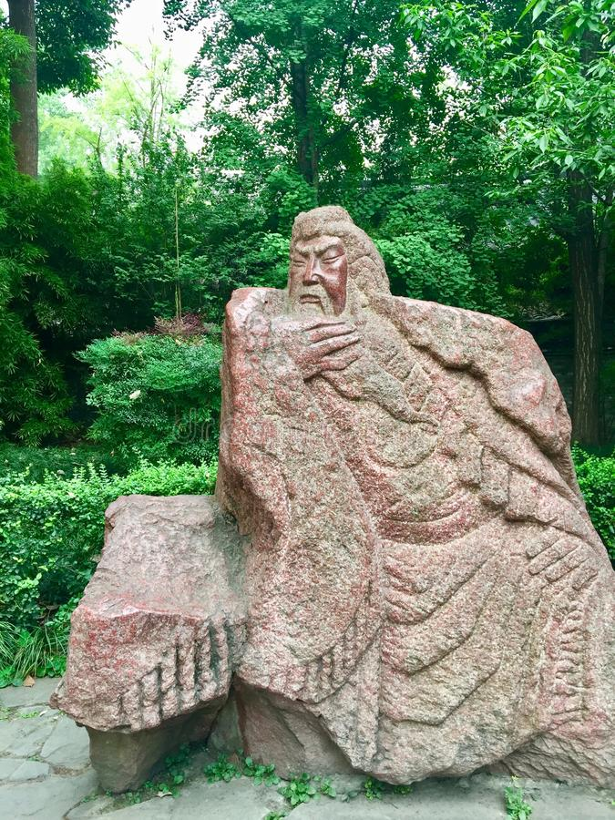 Stena statyn av general Guan Yu, främre sikt arkivbilder
