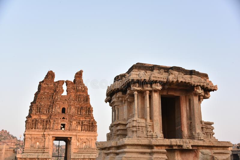 Stena triumfvagnen, den Vijay Vittala templet, Hampi, Karnataka, Indien arkivbilder
