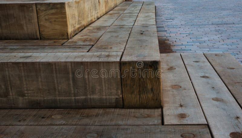 Stenar av trä på gatan royaltyfri fotografi