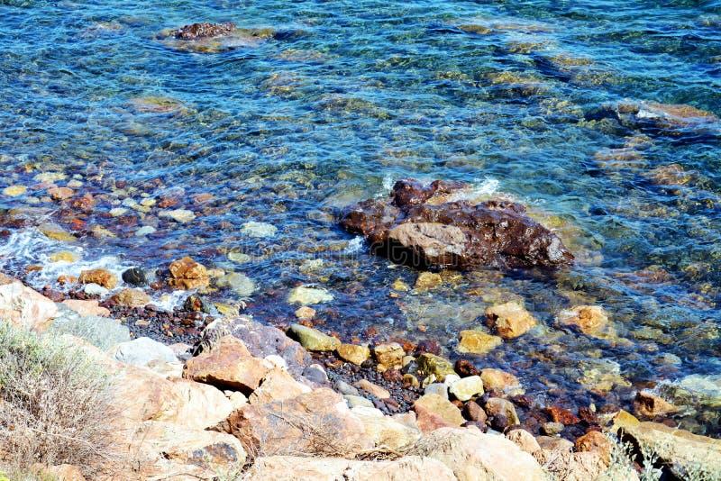 Stenar och blåttvågor, Tyrrhenian hav, bakgrund royaltyfri fotografi