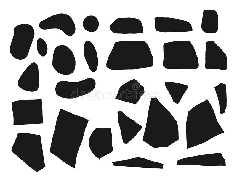 Stenar och kullersten ställde in konturvektorn isolerat stock illustrationer