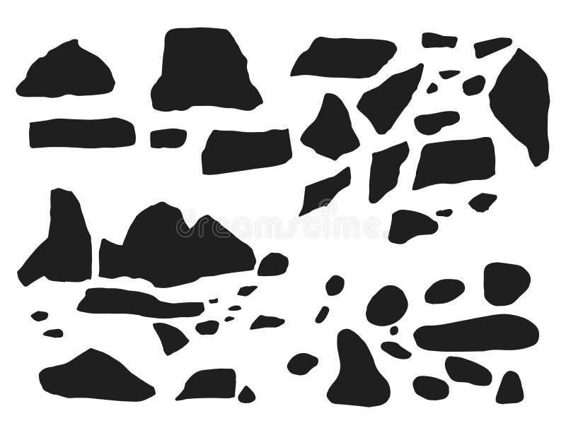 Stenar och kullersten ställde in konturvektorn Isolerat på whit vektor illustrationer