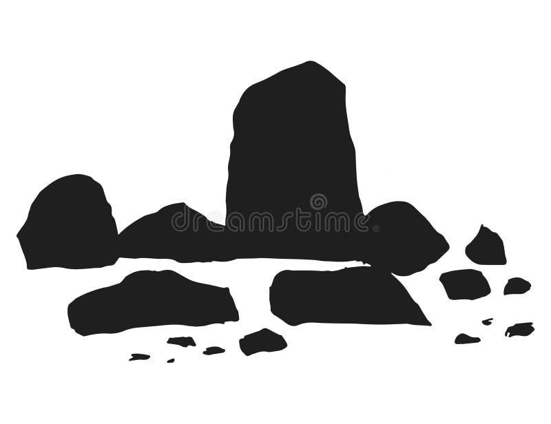Stenar och kullersten ställde in vektorn isolerad silhouette stock illustrationer