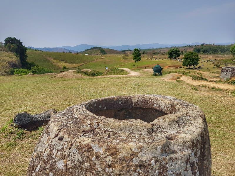 Stenar sätter in & x28; Läderremhaihin& x29; , Xiengkhoung landskap, Laos royaltyfria foton