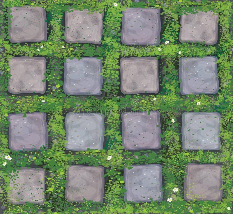 Stenar sömlös textur för vektorn trottoar royaltyfri illustrationer