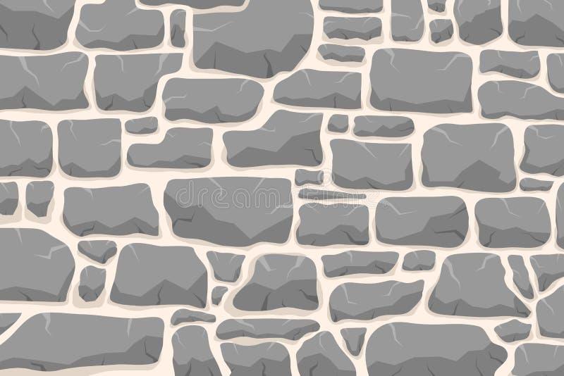 Stenarbete Masonry gjord av gammal sten Stråluppsättning av olika former och färger Vektor, teckningsbild vektor illustrationer