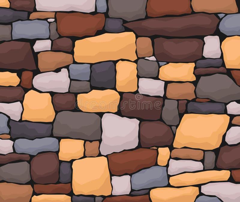 Stenarbete Masonry gjord av gammal sten Stråluppsättning av olika former och färger Vektor, teckningsbild royaltyfri illustrationer