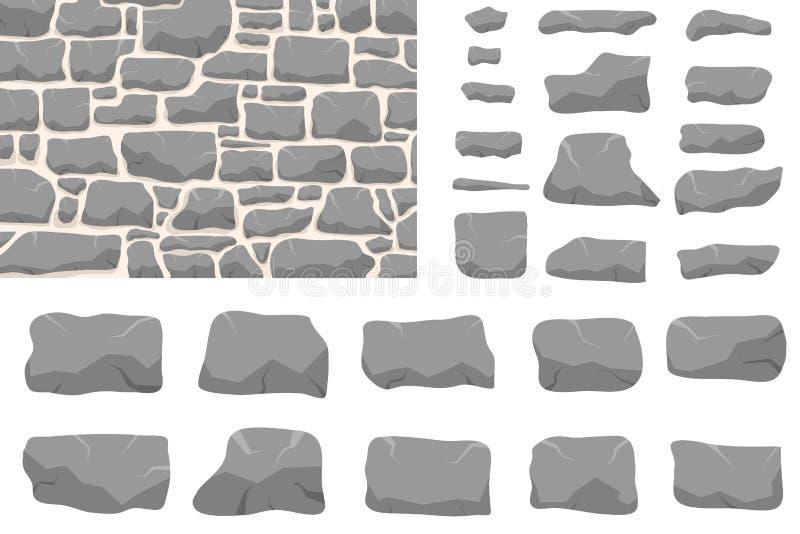 Stenarbete Masonry gjord av gammal sten Stråluppsättning av olika former och färger Vektor, teckningsbild stock illustrationer