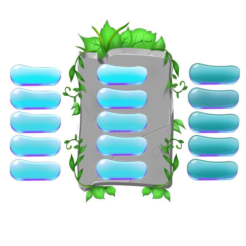 Stenbakgrund med blåa knappar vektor illustrationer