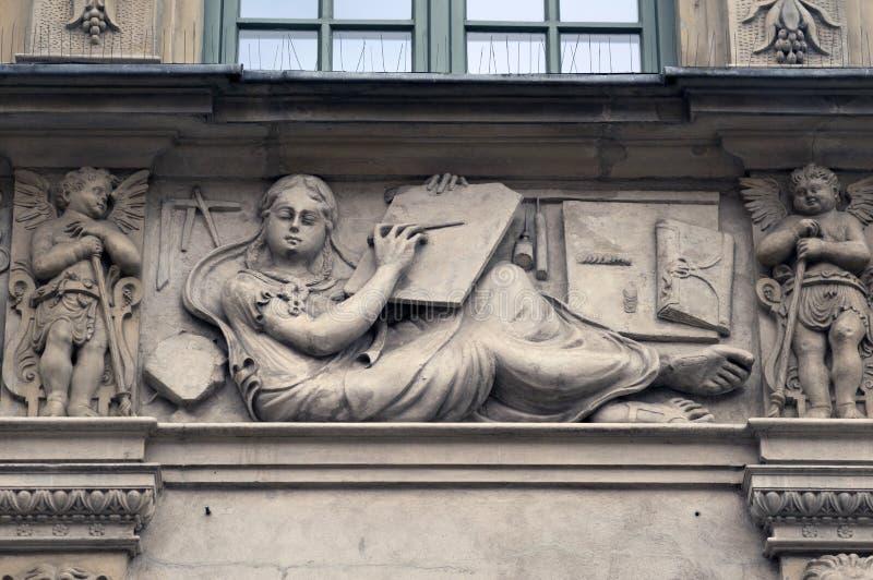 Stenbasreliefer av Gdansk fotografering för bildbyråer