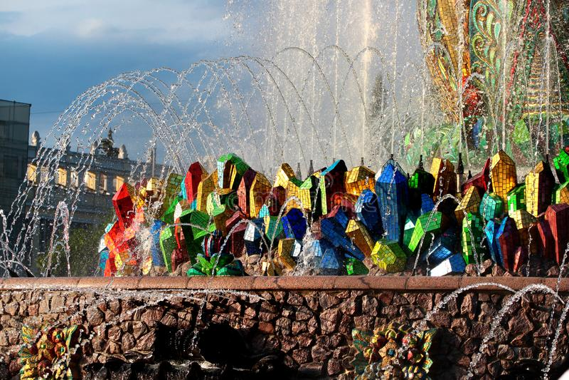 Stenblommaspringbrunnen i Moskva, Ryssland royaltyfria bilder