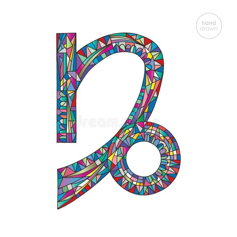Stenbockenzodiaktecken vektor för symbol för astrologihoroskopillustration Astrologisk hand dragen serie Färgrikt ljust magiskt s vektor illustrationer