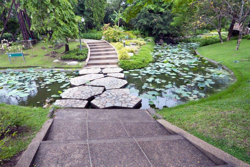 Stenbrogångbana över vattnet royaltyfri bild